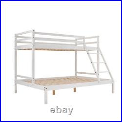 3FT / 4FT6 Triple Bunk Bed Pine Wood Kids Children Bed Frame with Stair in White