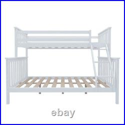 3FT 4FT6 Triple Sleeper Bunk Bed Wooden Bed Frame for Children Adults Home