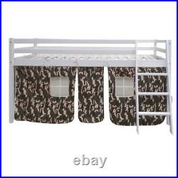 3FT Children Cabin Bed Mid Sleeper Bunk Camouflage Tent Bedroom Pine Bed Frame