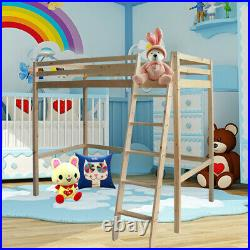 3FT High Tall Sleeper Cabin Bunk Bed +Ladder Kids Solid Wooden Pine Bedroom Loft