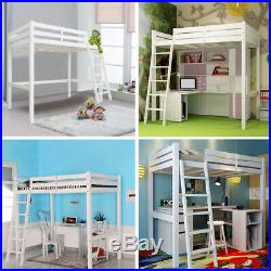 3FT Single Wooden Kids Bed High Sleeper Frame Bedroom Childrens Cabin Bunk Pine