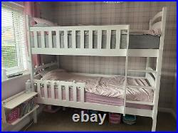 3 Sleeper White Wooden Triple Bunk Bed Frame Full Size Singles & Storage Drawers