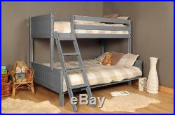 3ft 4ft Triple wooden Bunk Bed kids in Grey With Mattress Option