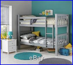 3ft Single Grey Premium Bunk Bed & Memory Foam Sprung Flex Mattress Option