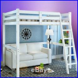3ft Single Loft Bed High Sleeper Cabin Strong Wooden Frame Bunk Bed Kids Bedroom