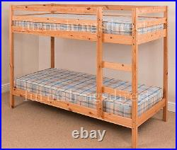 3ft Single Pine Bunk Bed With 2 X Memory Foam Sprung Mattresses