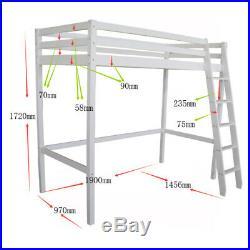 3ft Single Wooden High Sleeper Bunkbed Loft Cabin Bed Upper Berth Bunk Bed Tall