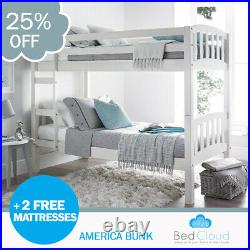 America 2FT6 x 6FT3 Small Single White Wooden Bunk Bed + 2 Free Mattresses