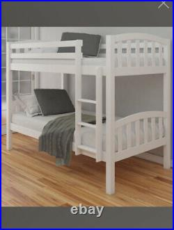 American White Finish Solid Pine Wooden Bunk Bed Frame 3ft Single
