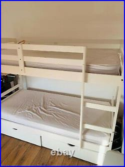 Argos Home Bunk Bed Frame with Drawers White (optional extra mattresses FREE)