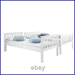 Atlantis White Finish Solid Pine Wooden Triple Bunk Bed Frame and Mattresses