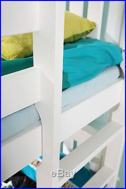 Bed Bunk Wooden Childrens Mattresses And Storage Drawers Solid White