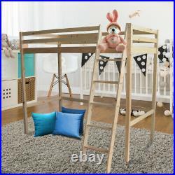 Bedroom Single Bunk Bed High Sleeper Wooden Bed Frame Loft Ladder Frame Kids 3FT