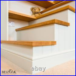 Bespoke handmade fitted wooden bunk beds with staircase, shelves and storage