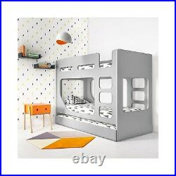 Braxton Kids Bunk Bed with Pull Out Trundle in Grey