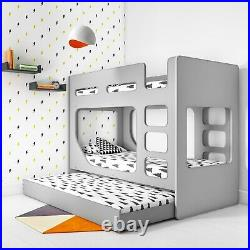 Braxton Kids Bunk Bed with Pull Out Trundle in Grey BRX002