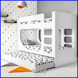 Braxton Kids Bunk Bed With Pull Out Trundle In White Brx001 Wooden Bunk Bedwooden Bunk Bed
