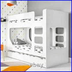 Braxton White Kids Wooden Single Bunk Bed With Pull Out Trundle