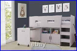 Bunk Bed Cabin Bed Mid Sleeper Cabinet Set with Storage & Desk Wooden Kids
