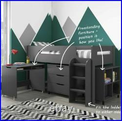 Bunk Bed Cabin Mid Sleeper with Storage & Slide Desk Wooden Kids (Dark Grey)