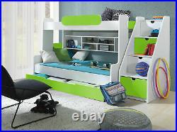 Bunk Bed Children High Sleeper Modern Kids Bedroom 6 Colours Cabin Triple Bed