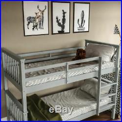 Bunk Bed High Sleeper Solid Wood Frame Slats Childrens Kids Single 3FT Grey