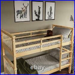 Bunk Bed High Sleeper Solid Wood Frame Slats Childrens Kids Single 3FT Pine