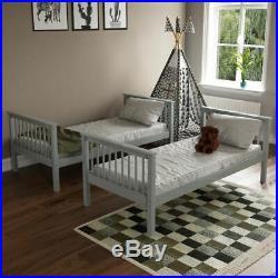 Bunk Bed High Sleeper Solid Wood Frame Slats Ladder Childrens Single 3FT Grey