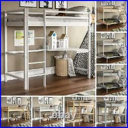 Bunk Bed Triple Sleeper Loft Cabin Bed Solid Pine Wood Frame Desk Kids 3FT 4FT6