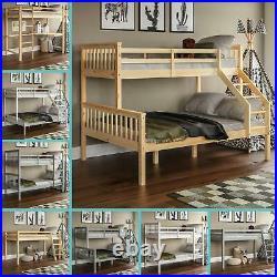 Bunk Bed Triple Sleeper Loft Cabin Bed Solid Wood Frame Kids Ladder Desk Pine