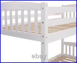 Bunk Bed White Kids High Sleeper Solid Pine Wooden Frame Children's Single 3FT