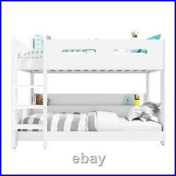 Bunk Bed White Wooden Modern Kids + Storage Shelves