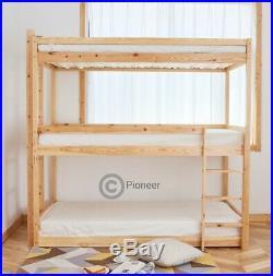 Bunk Bed Wooden frame triple sleeper children 3ft adult 3 tier bunk bed pine