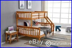 Bunk Bed wooden frame triple sleeper children 4ft6 & 3ft adult Oak colour
