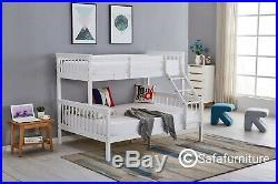 Bunk Bed wooden frame triple sleeper children 4ft6 adult Silk Grey or White bed