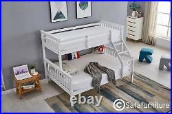 Bunk Bed wooden frame triple sleeper children 4ft6 adult White bed