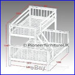 Bunk Bed wooden frame triple sleeper children 4ft6 adult bunk bed white pine oak