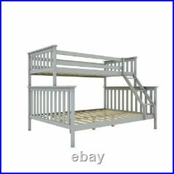 Bunk Beds Triple Sleeper Wooden Double Bed Frame Grey Kids Bedstead with Stairs UK