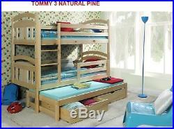 Bunk Beds Wooden triple Children's Mattresses Storage White Pine external 198cm