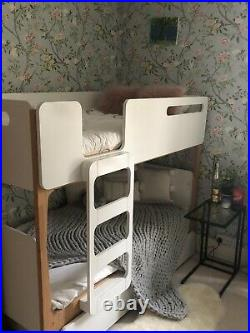 Bunk beds with trundle. Linus by Made. Com. Used, white & Pine Scandi look