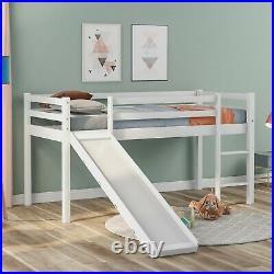 Cabin Bed Frame with Slide & Ladder Wooden Bunk Bed for Kids Solid Pine Wood