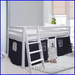 Cabin Bed Mid Sleeper Kids Child Wooden Bunk Bed with Pirate Design Curtain Tent