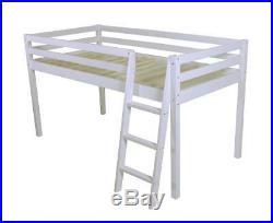 Cabin Bed mid Sleeper Bunk Loft Ladder New Single Girls Wooden Pine 3ft