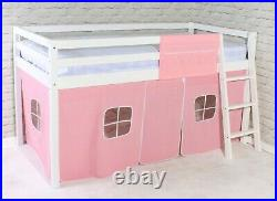 Cabin Bed mid Sleeper White Wooden Solid Pine with Ladder Bunk Girls 3ft Single