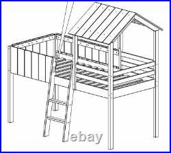 Cabin Bunk Bed Kids Wooden Single Mid Sleeper & Ladder Treehouse Canopy Children