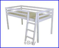 Cabin Loft Bed Mid Sleeper Ladder Bunk Pink Girls New 3ft Single Wooden Pine