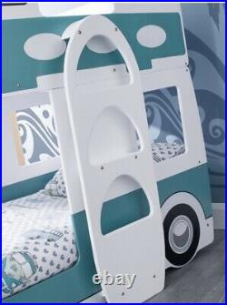 Campervan Bed Surfer Style Green & White Bunk Bed by Julian Bowen Rrp £700