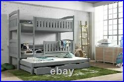 Children Wooden Pine Bunk Bed Trundle Bed BLANKA Storage Drawers Grey
