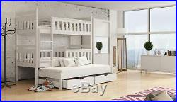 Children Wooden Pine Bunk Bed Trundle Bed KORS Storage Drawers in White