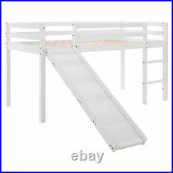 Children's Cabin Bed Frame Bunk Bed for Kids with Adjustable Ladder and Slide